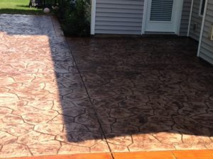 terracotta stamped concrete patio