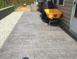 gray stone slab concrete patio