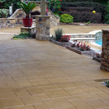 beautiful stamped concrete pool