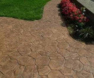 stamped concrete patio and garden